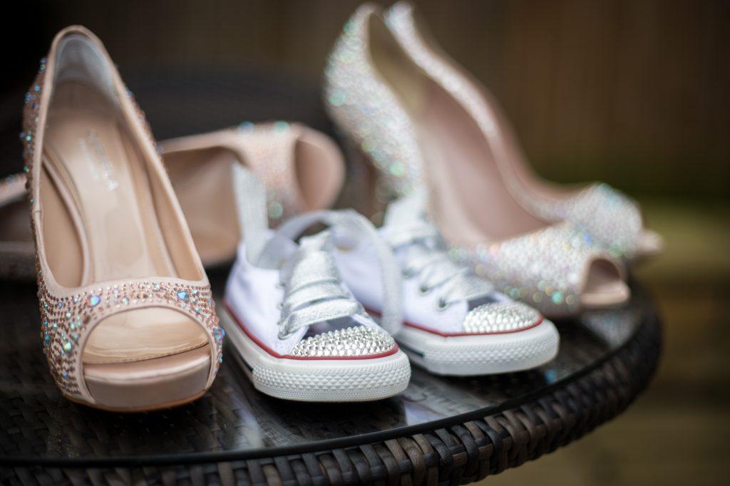 Wedding shoes photo at wedding preparation