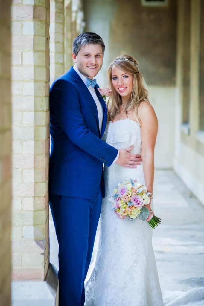 Bride and groom portrait after wedding ceremony