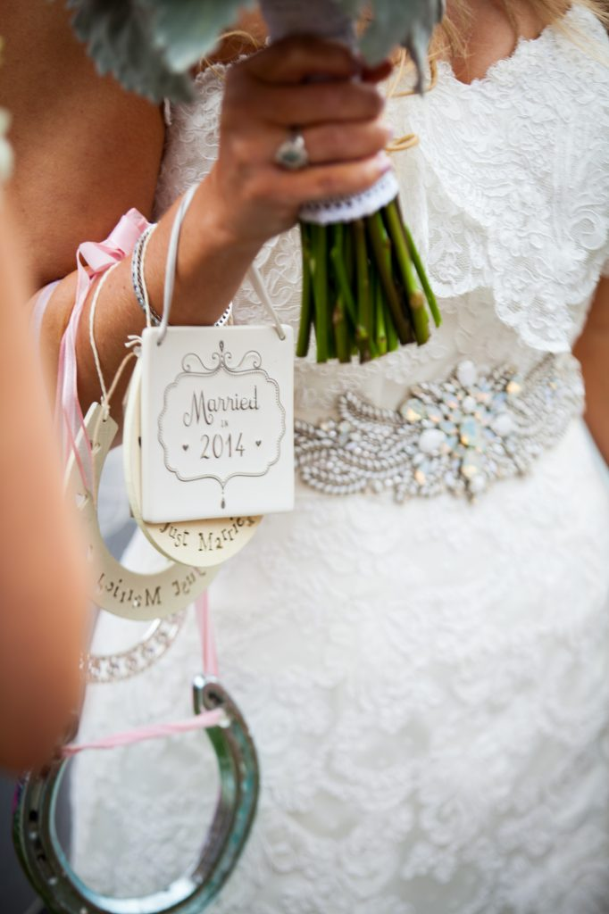 Bride with gifts after wedding ceremony