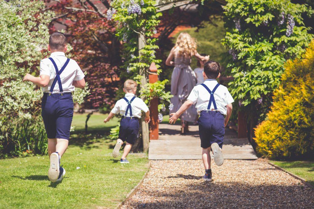 Kids running before the wedding ceremony
