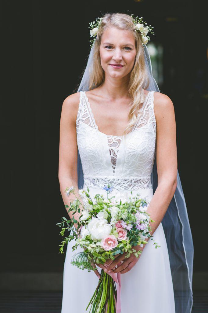 Bride ready in wedding dress at Nutfield Priory