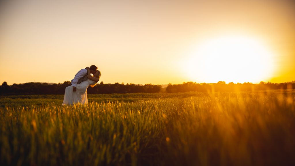 Bride and Groom portrait shot in a wheat field in the countryside at sunset.