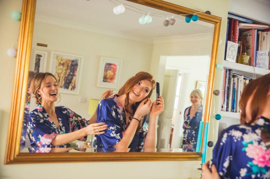 Wedding party preparation photo in mirror