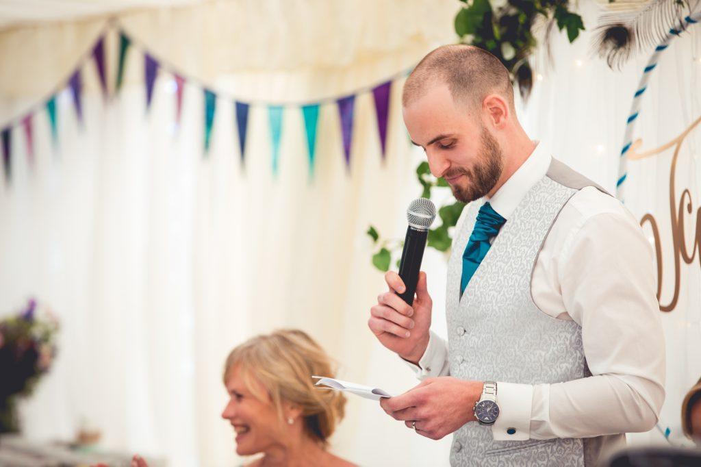 Wedding speeches by the groom.